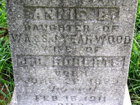 Roberts,Annie B dates